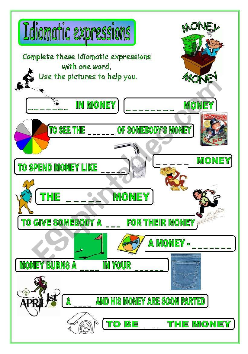 Idiomatic expressions - MONEY - (part 2 / 2)