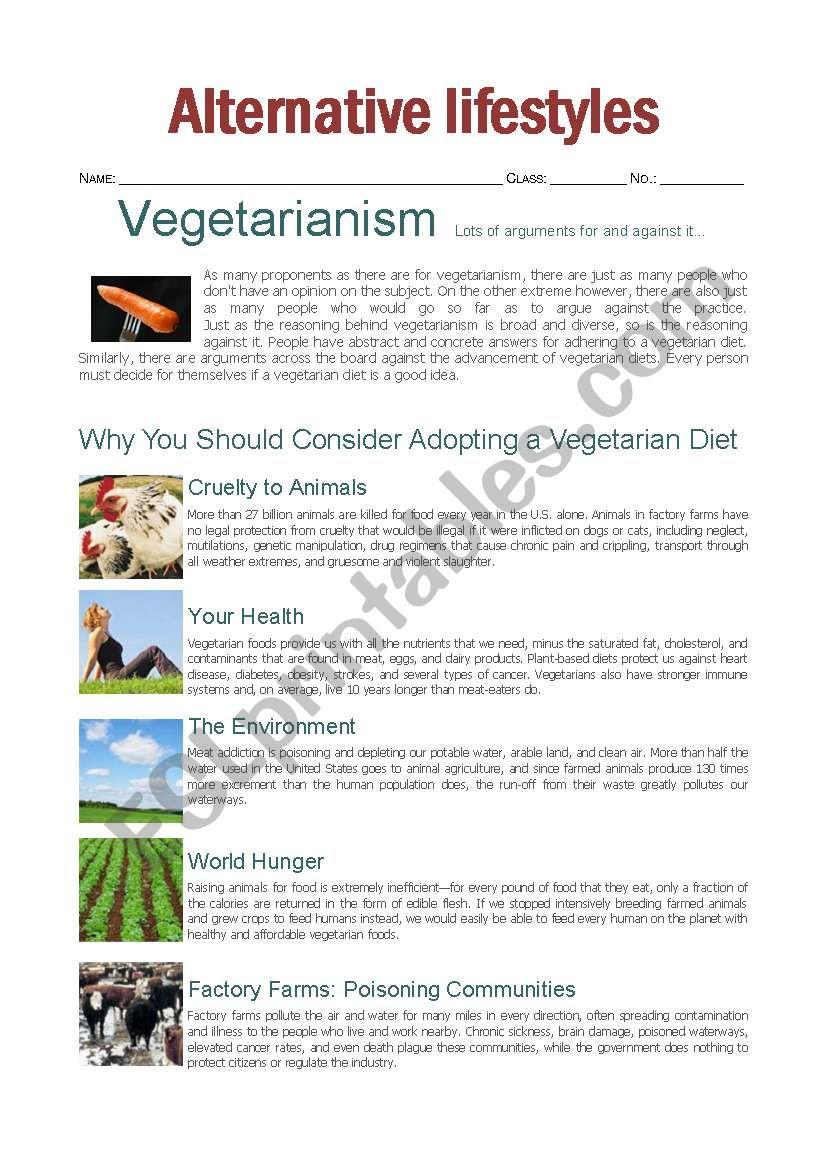 picture regarding Brain Injury Worksheets Printable known as arguments for and versus vegetarianism - ESL worksheet by means of