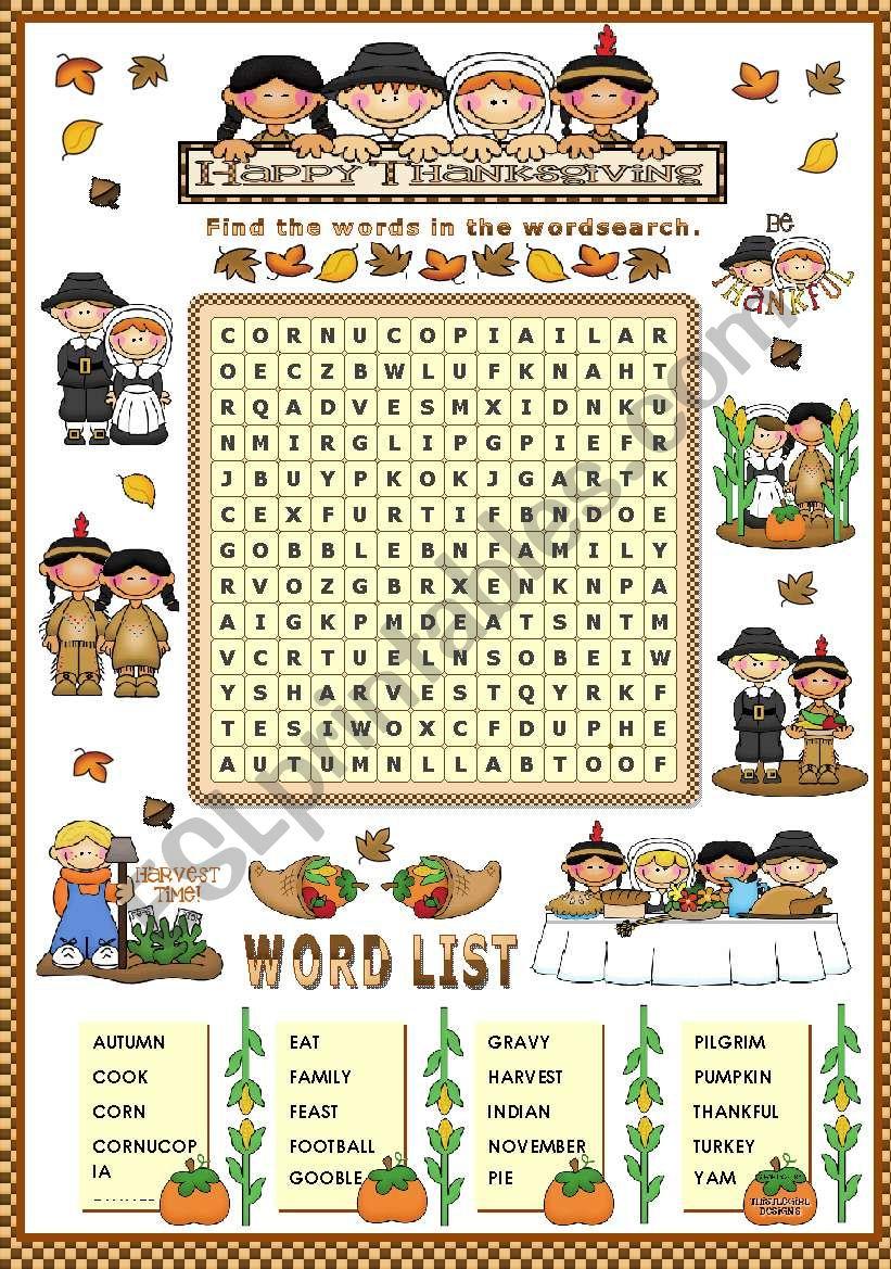 THANKSGIVING WORDSEARCH worksheet