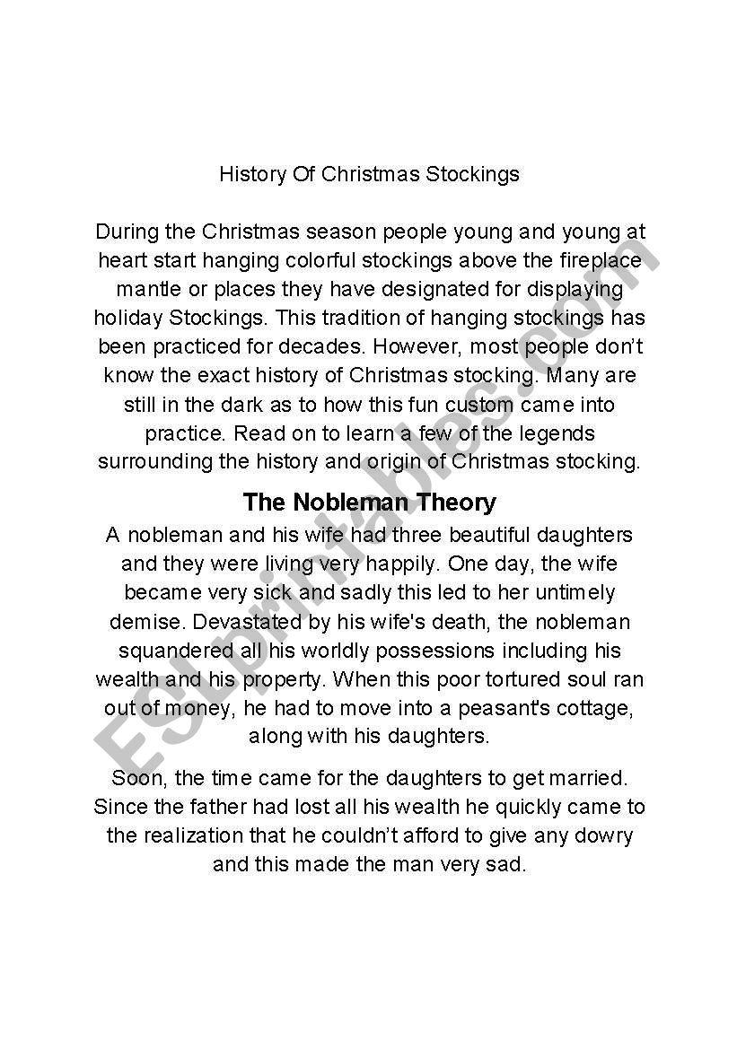 history of christmas stockings esl worksheet by teacherflorida