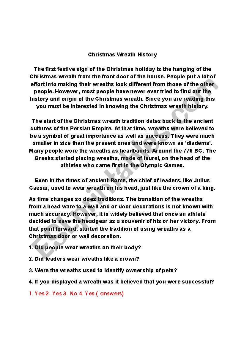 Christmas History In English.English Worksheets Christmas Wreath History