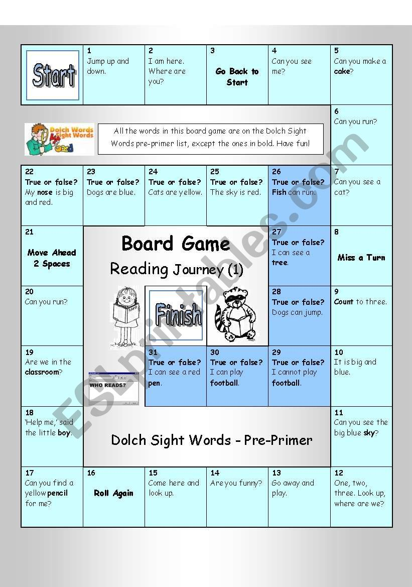 Board Game - Reading Journey (1) - Dolch Sight Words Pre