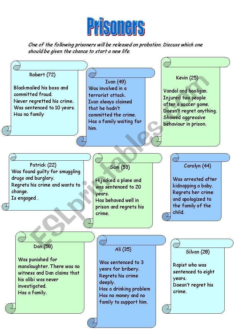Prisoners - ESL worksheet by nurja