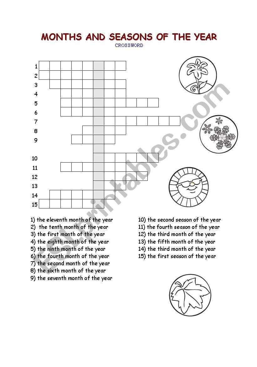 months and seasons crossword esl worksheet by ikona. Black Bedroom Furniture Sets. Home Design Ideas