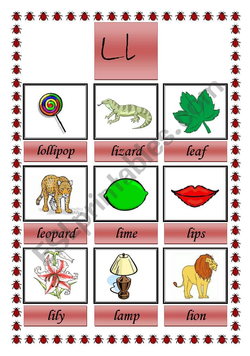 picture dictionary (L) worksheet