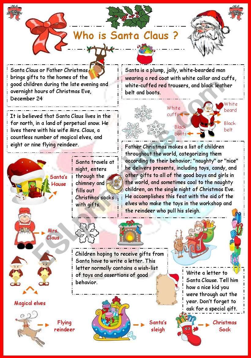 Who is Santa Claus? worksheet