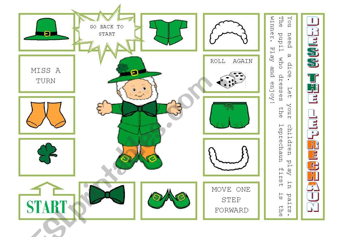 DRESS THE LEPRECHAUN worksheet