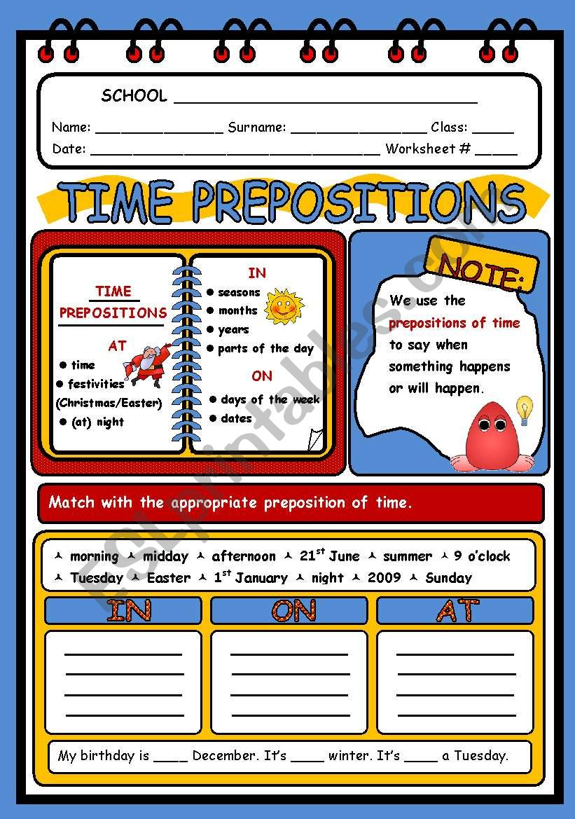 TIME PREPOSITIONS - 2 PAGES worksheet