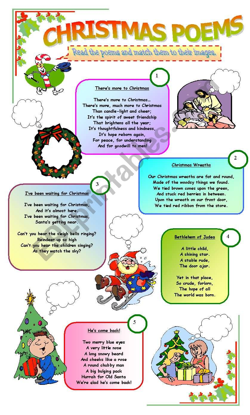 CHRISTMAS POEMS - ESL worksheet by