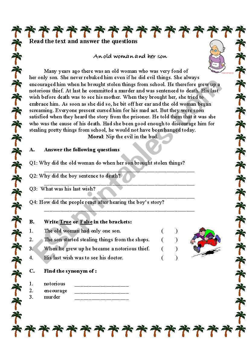 the woman and her son worksheet