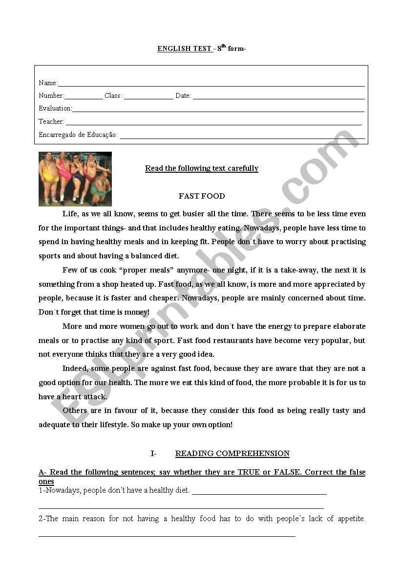 test on food/sports worksheet