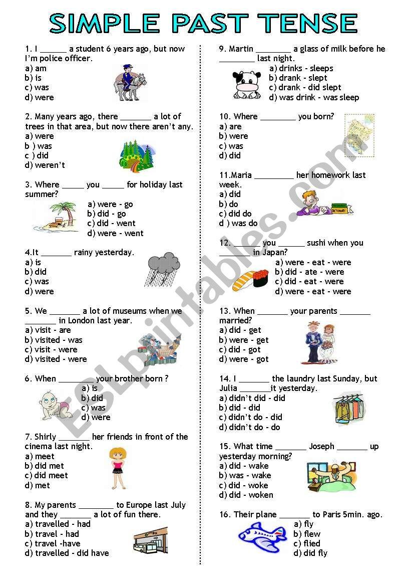 Simple Past Tense test worksheet