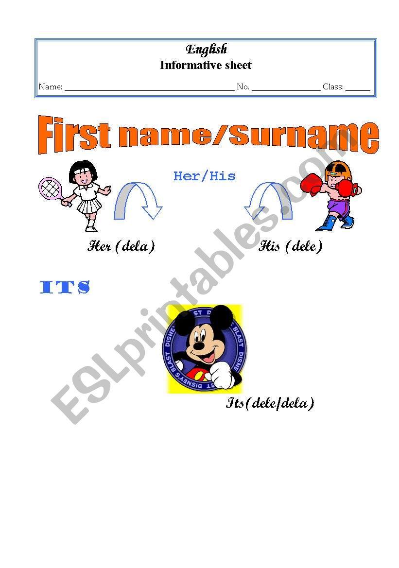 Firts name/surname worksheet