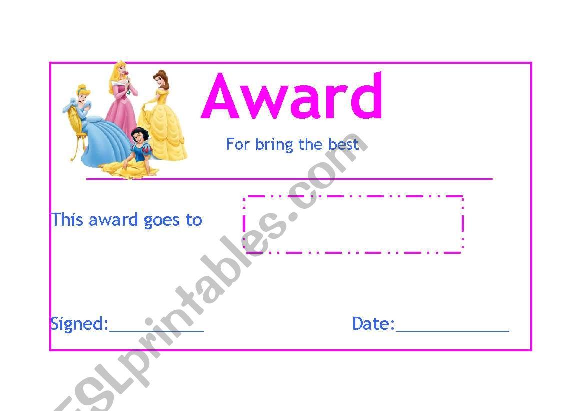 student award worksheet
