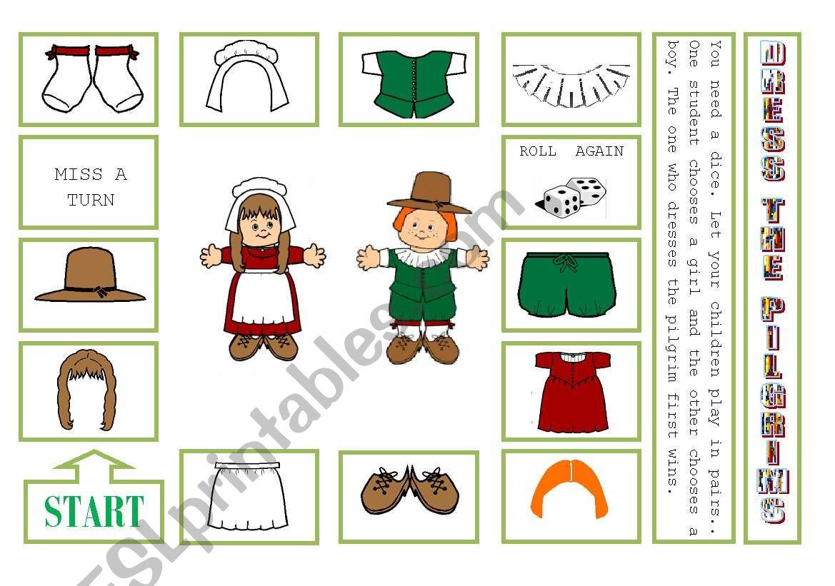 DRESS THE PILGRIMS worksheet