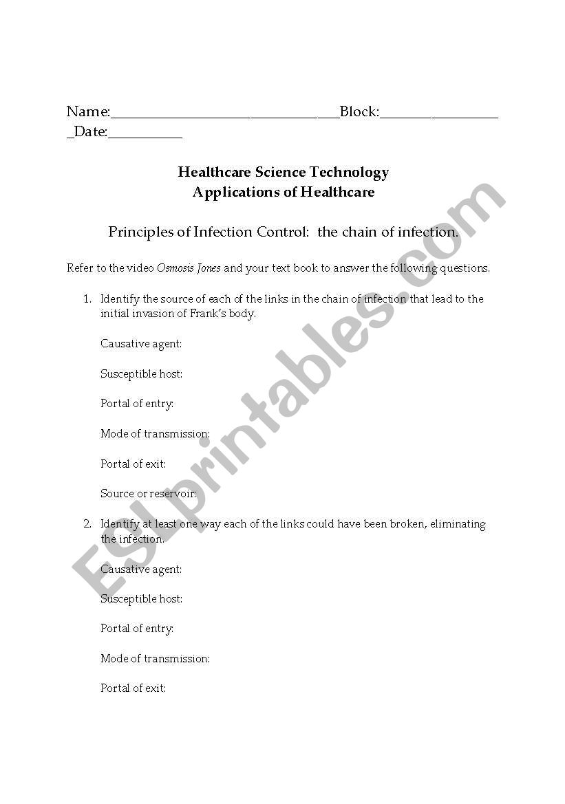 English worksheets: Chain of Infection Osmosis Jones Video