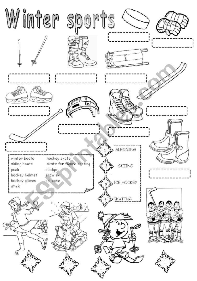 winter sports esl worksheet by daka3. Black Bedroom Furniture Sets. Home Design Ideas