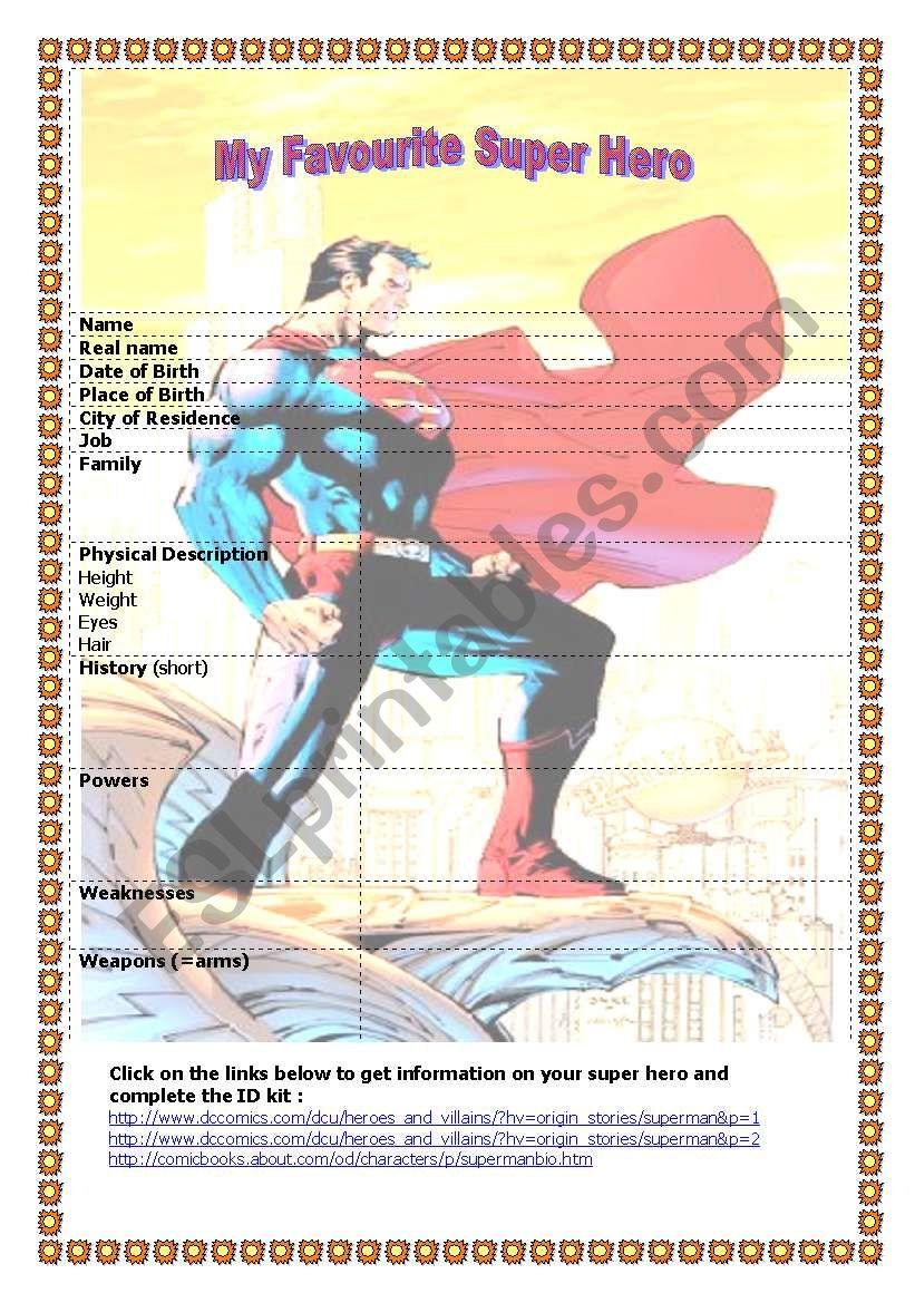 My Favourite Super Hero worksheet