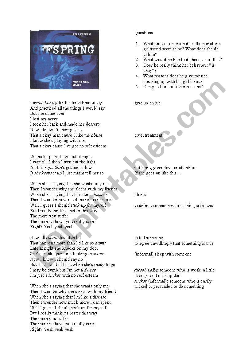 The Offspring - Self Esteem - Lyrics analysis - ESL worksheet by Dottel
