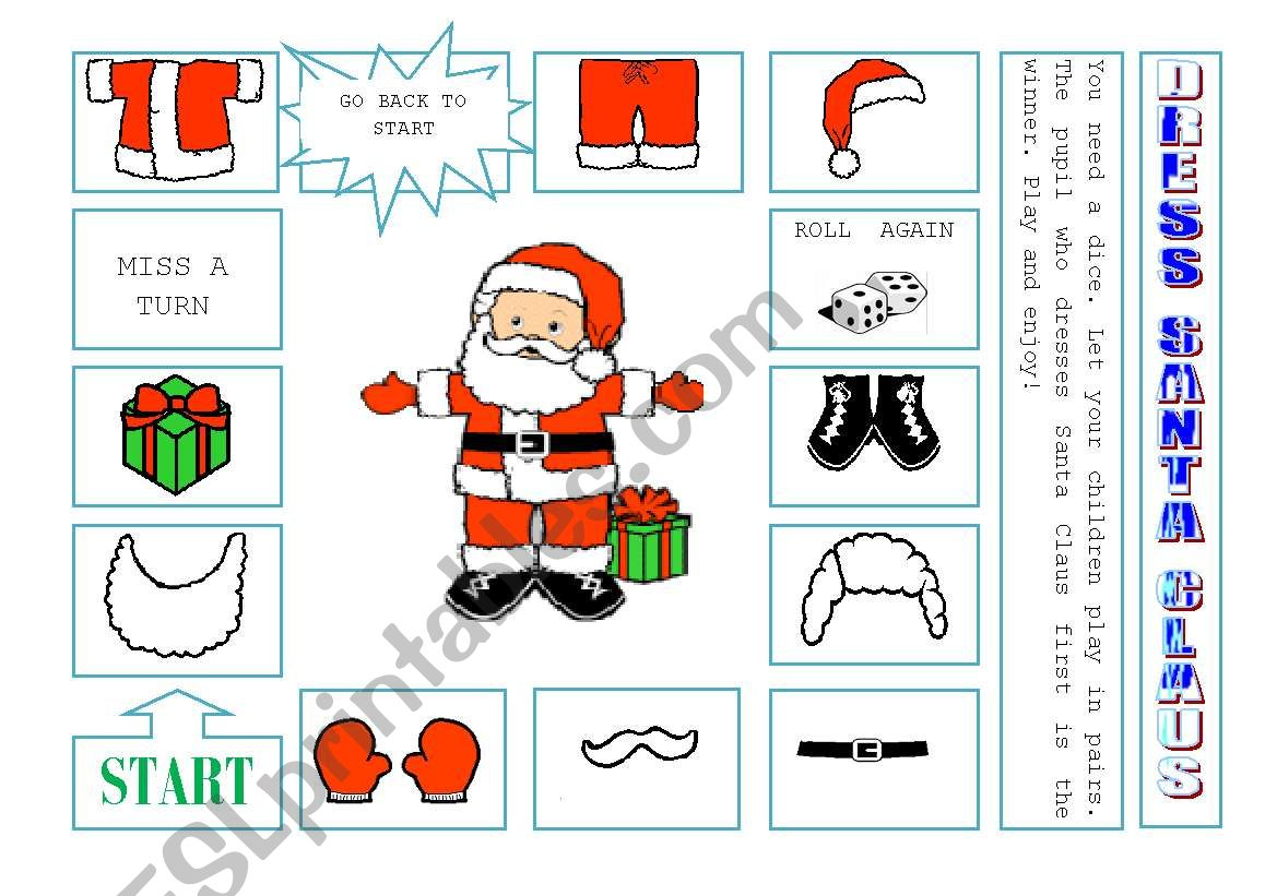 DRESS SANTA CLAUS worksheet