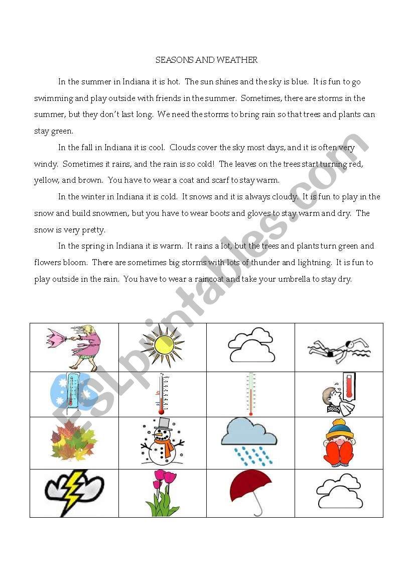 seasons and weather reading comprehension esl worksheet by sharpsa123. Black Bedroom Furniture Sets. Home Design Ideas