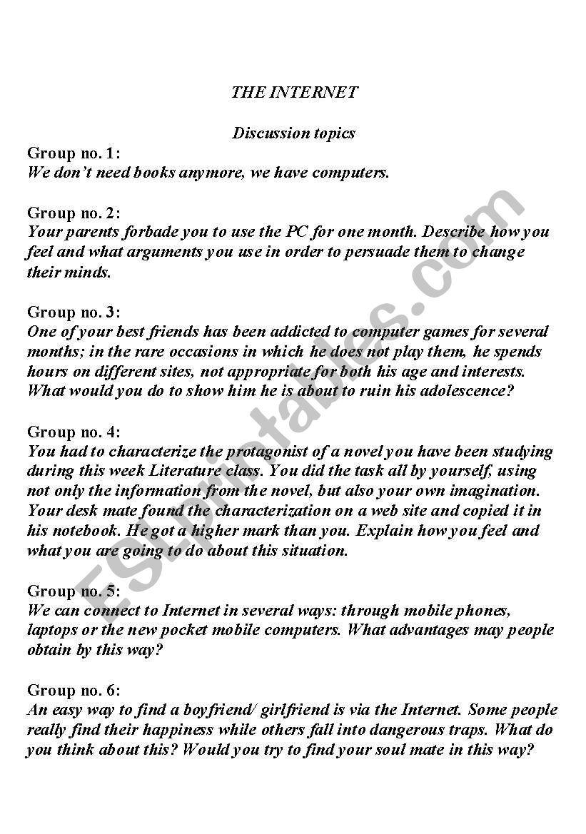 The Internet- Speaking Practice - ESL worksheet by Alina26