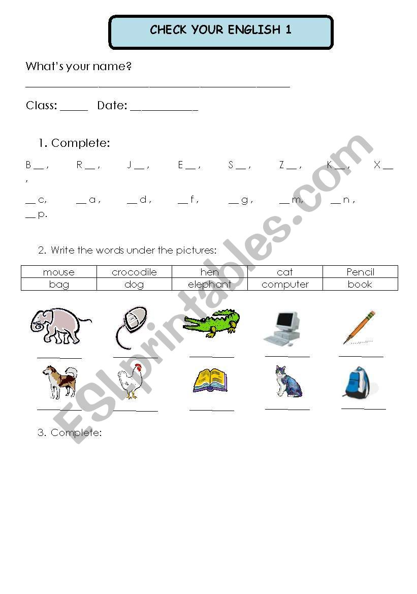 Test 1 worksheet