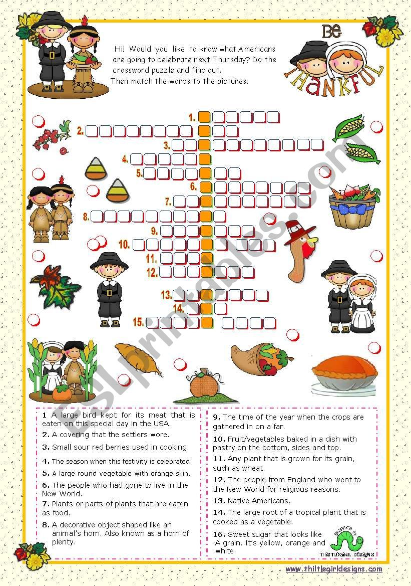 picture regarding Thanksgiving Crossword Puzzle Printable called Thanksgiving Crossword Puzzle - ESL worksheet via mena22