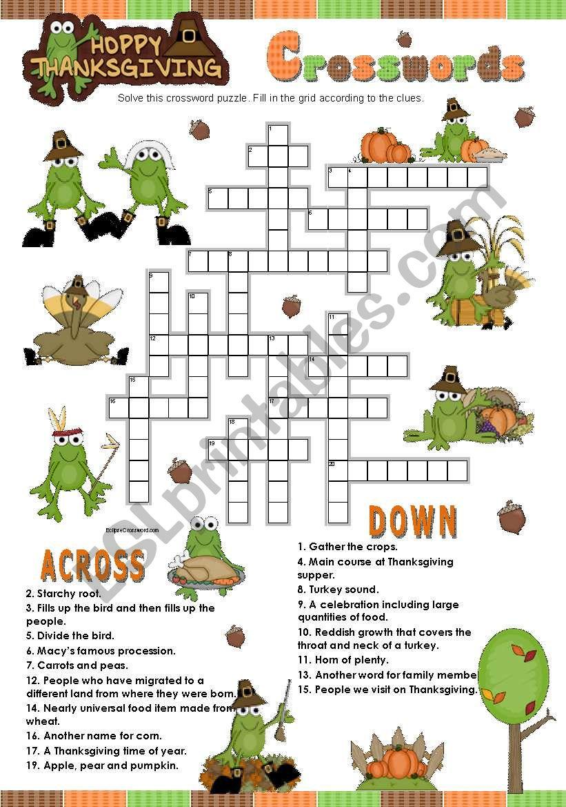 Happy Thanksgiving Crosswords Esl Worksheet By Teresaraiva