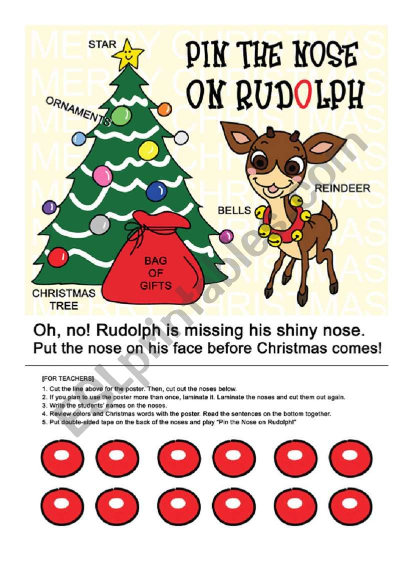 photograph about Pin the Nose on Rudolph Printable identified as Pin the Nose upon Rudolph - ESL worksheet by way of nofearinme