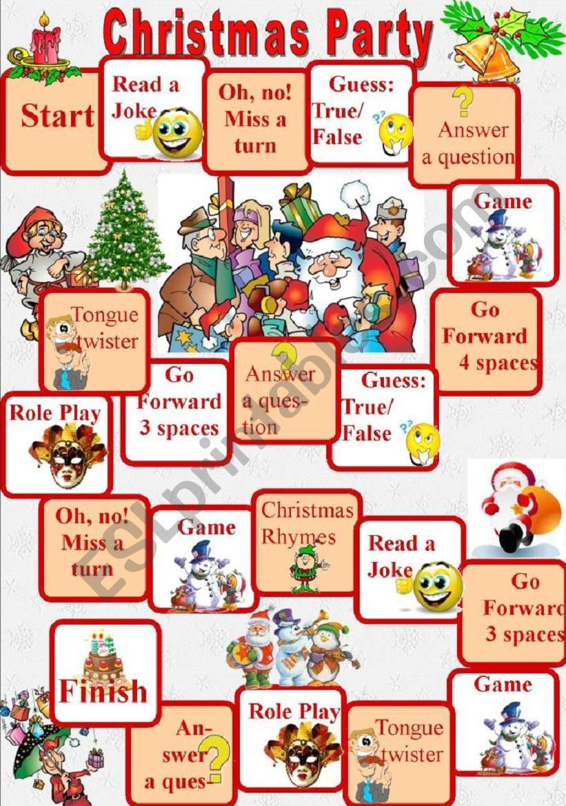 Christmas Party board game - ESL worksheet by elfelena