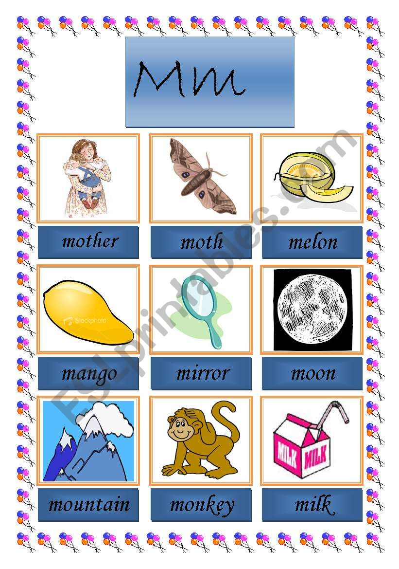 picture dictionary (m) worksheet