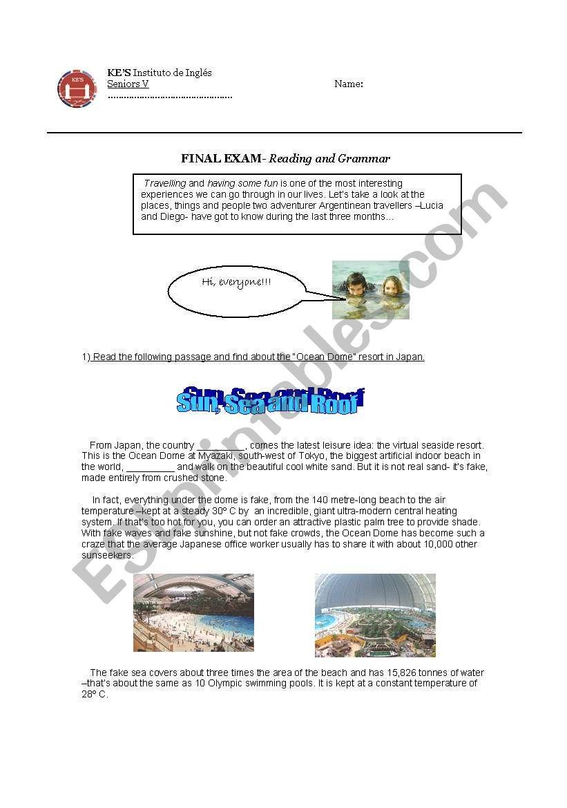 reading and grammar test intermediate level part 1 esl worksheet by espectaculo. Black Bedroom Furniture Sets. Home Design Ideas