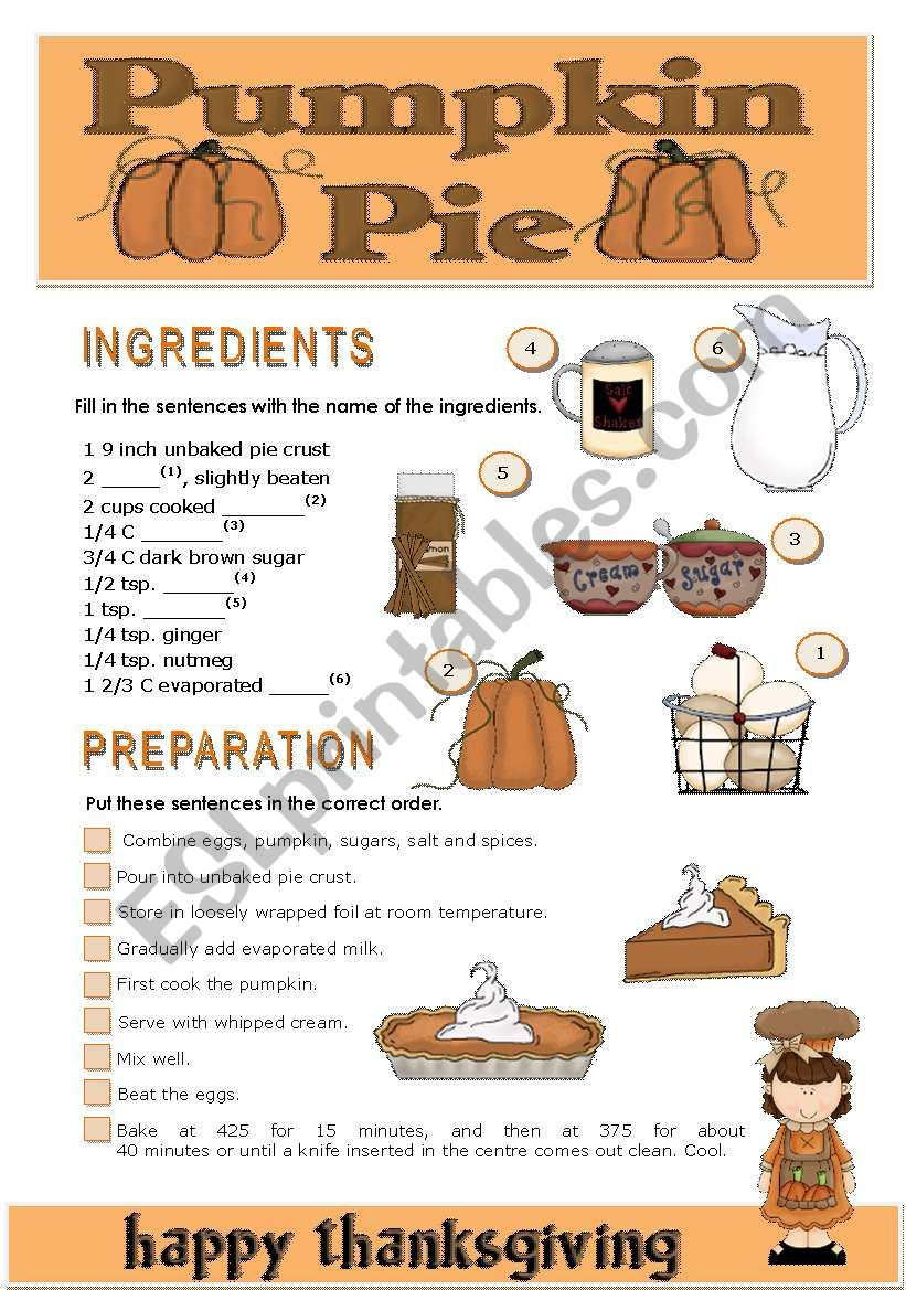 THANKSGIVING PUMPKIN PIE worksheet