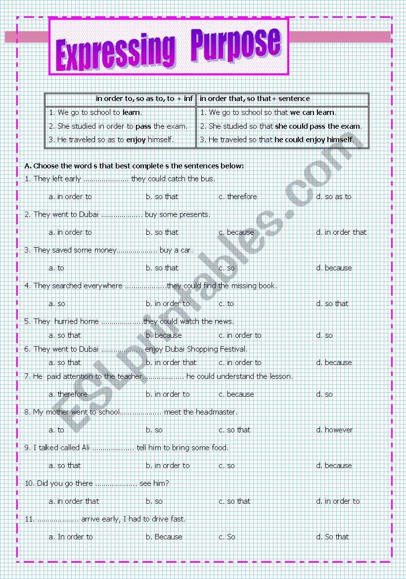 Expressing   Purpose worksheet