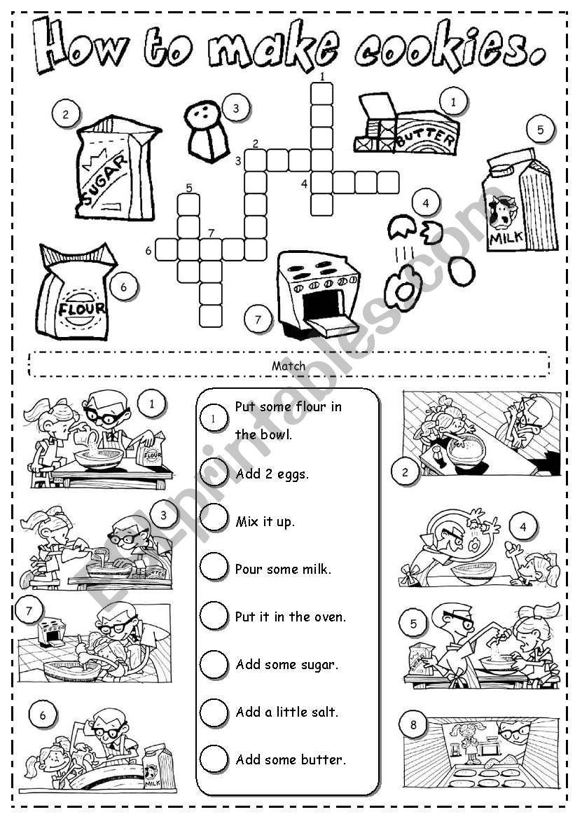 How to make cookies worksheet