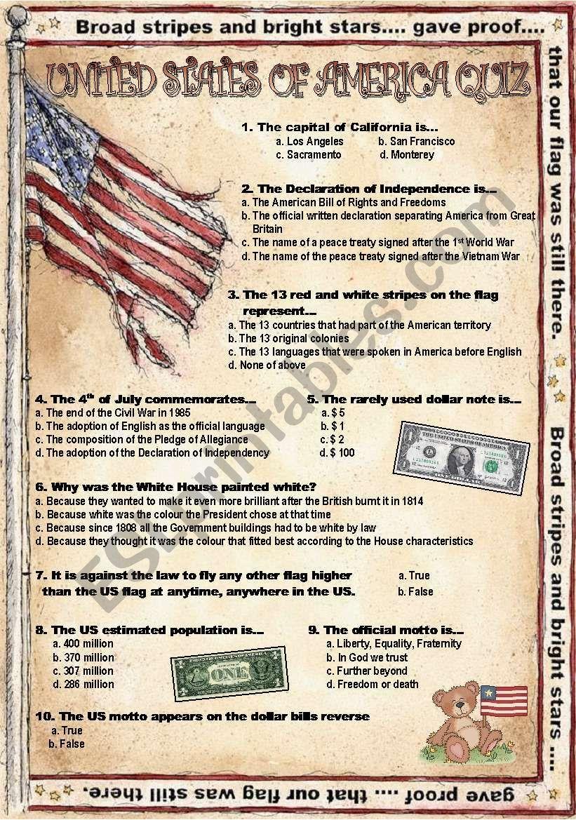 USA-Quiz worksheet