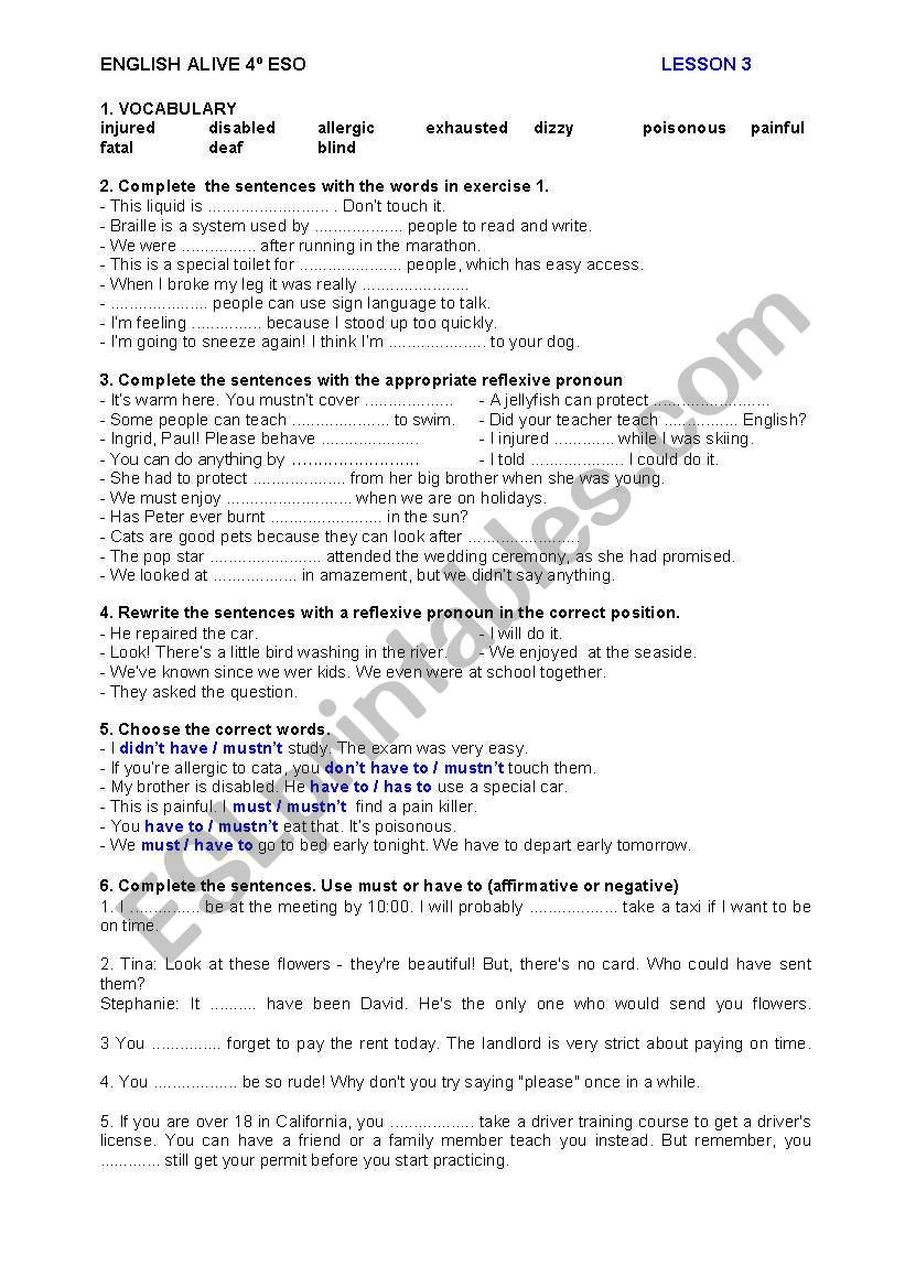 ENGLISH ALIVE 4º ESO - PRACTICE TEST - UNIT 3