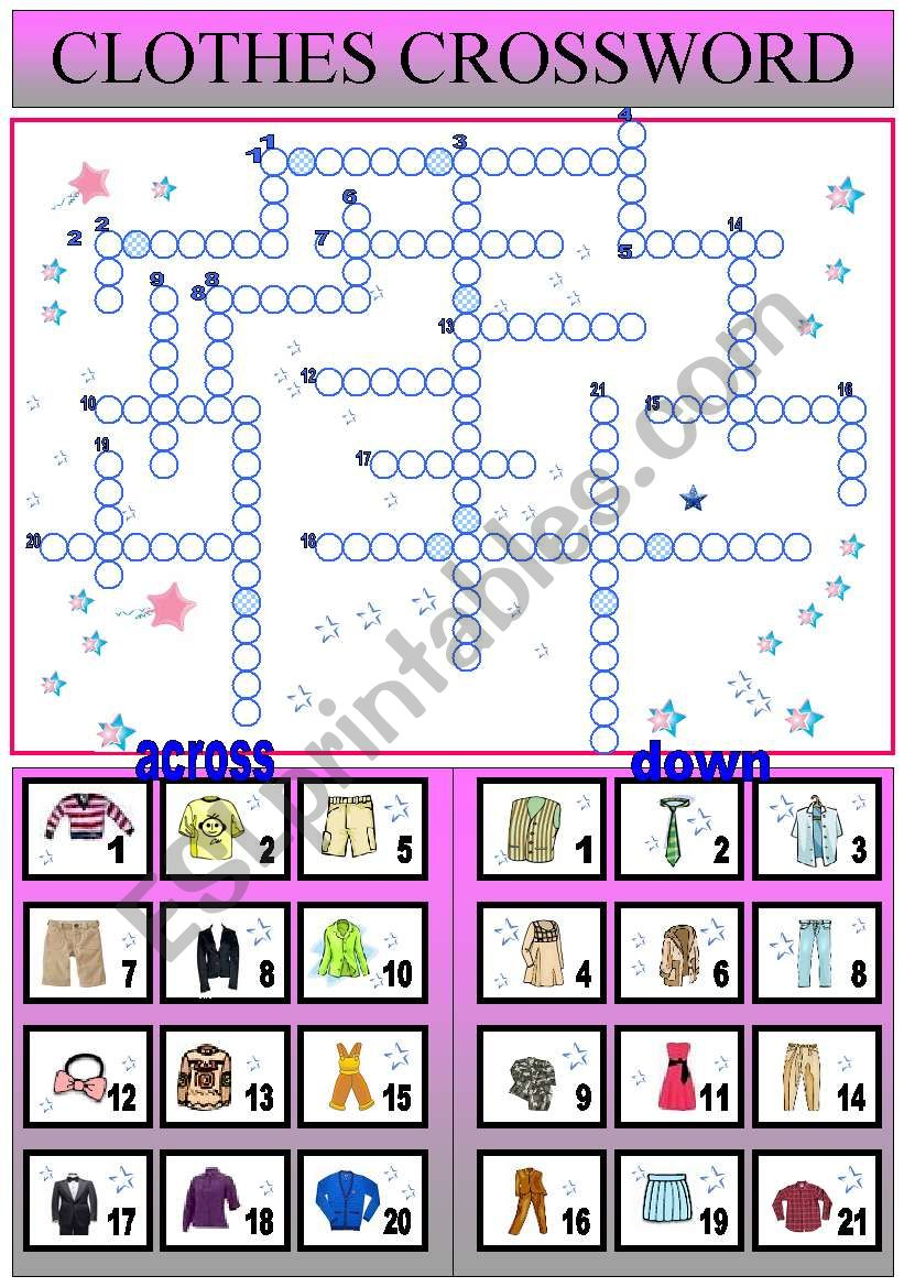 clothes crossword worksheet
