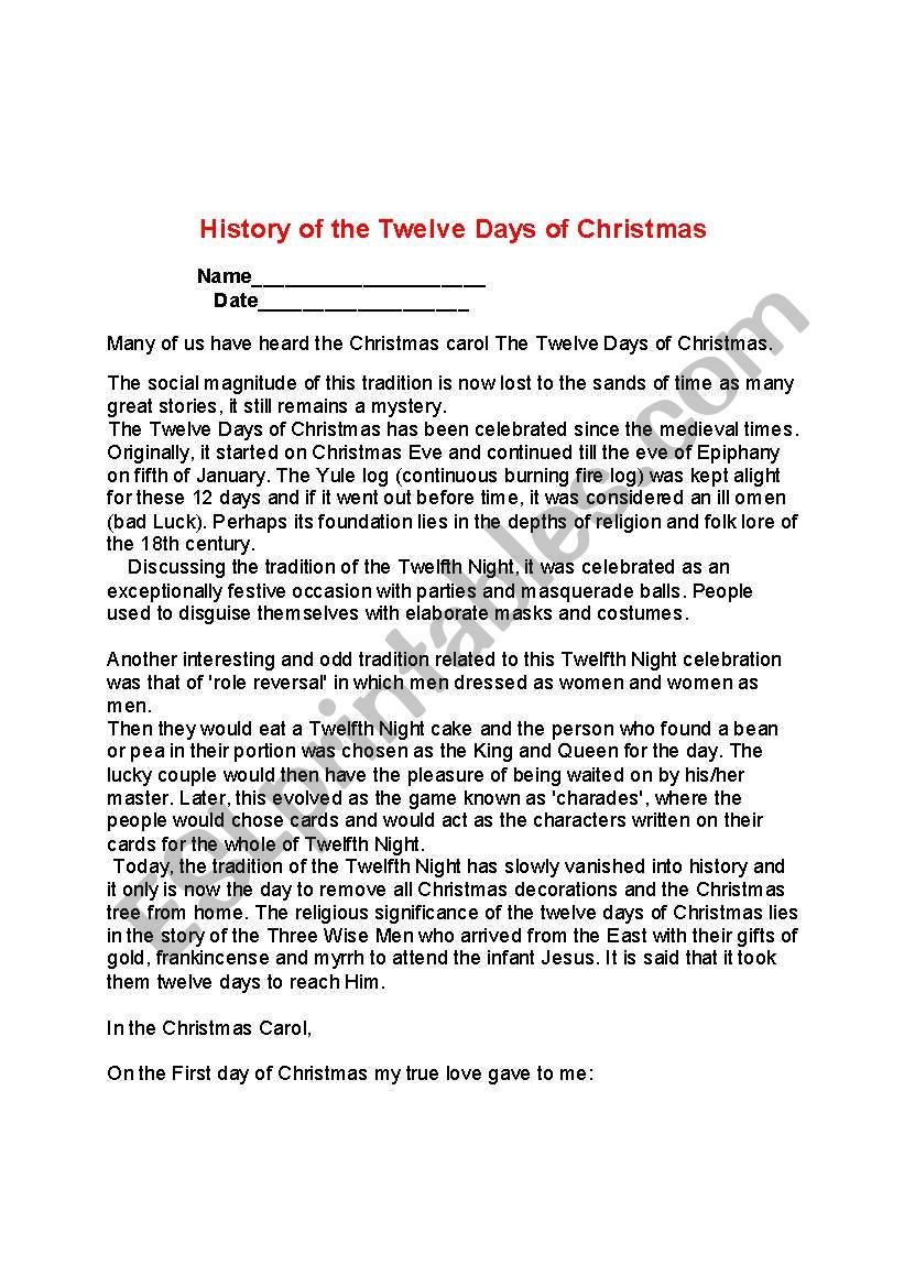 history 12 days of christmas esl worksheet by teacherflorida. Black Bedroom Furniture Sets. Home Design Ideas