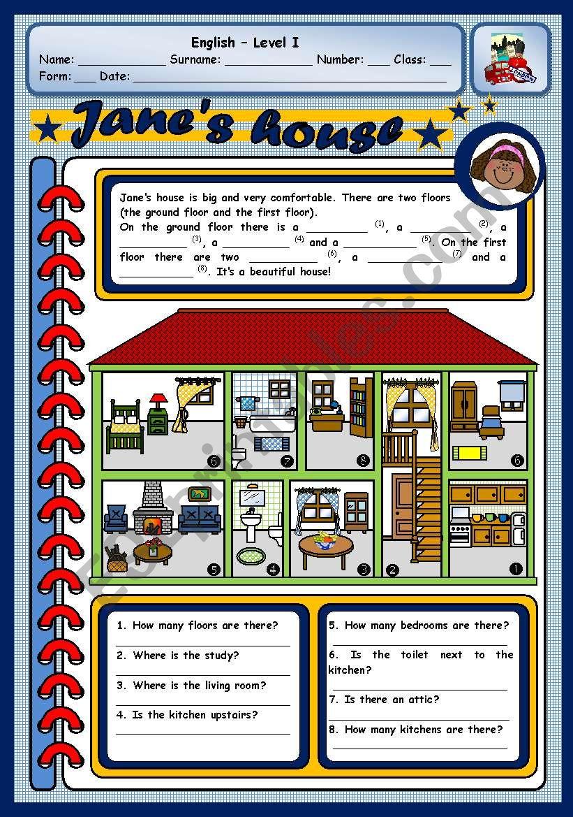JANE´S HOUSE worksheet