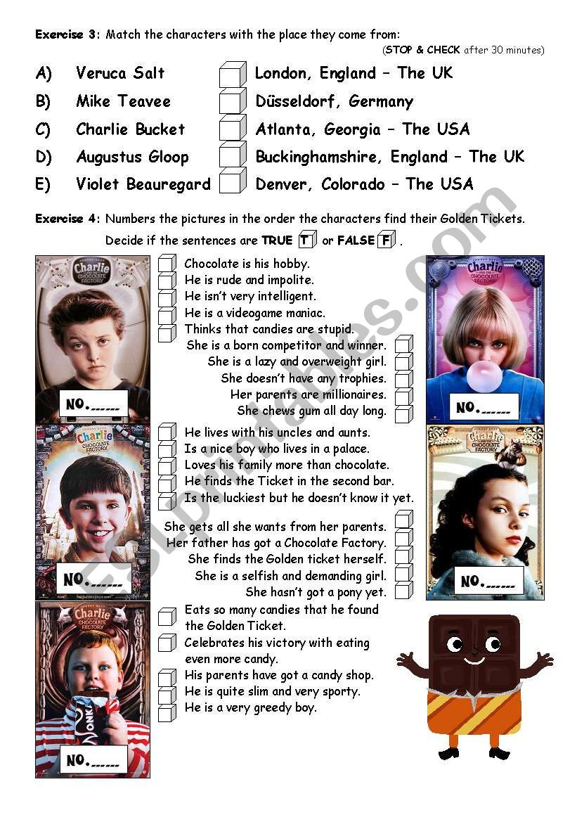 PART 2/4 Charlie & The Chocolate Factorym - movie worksheet