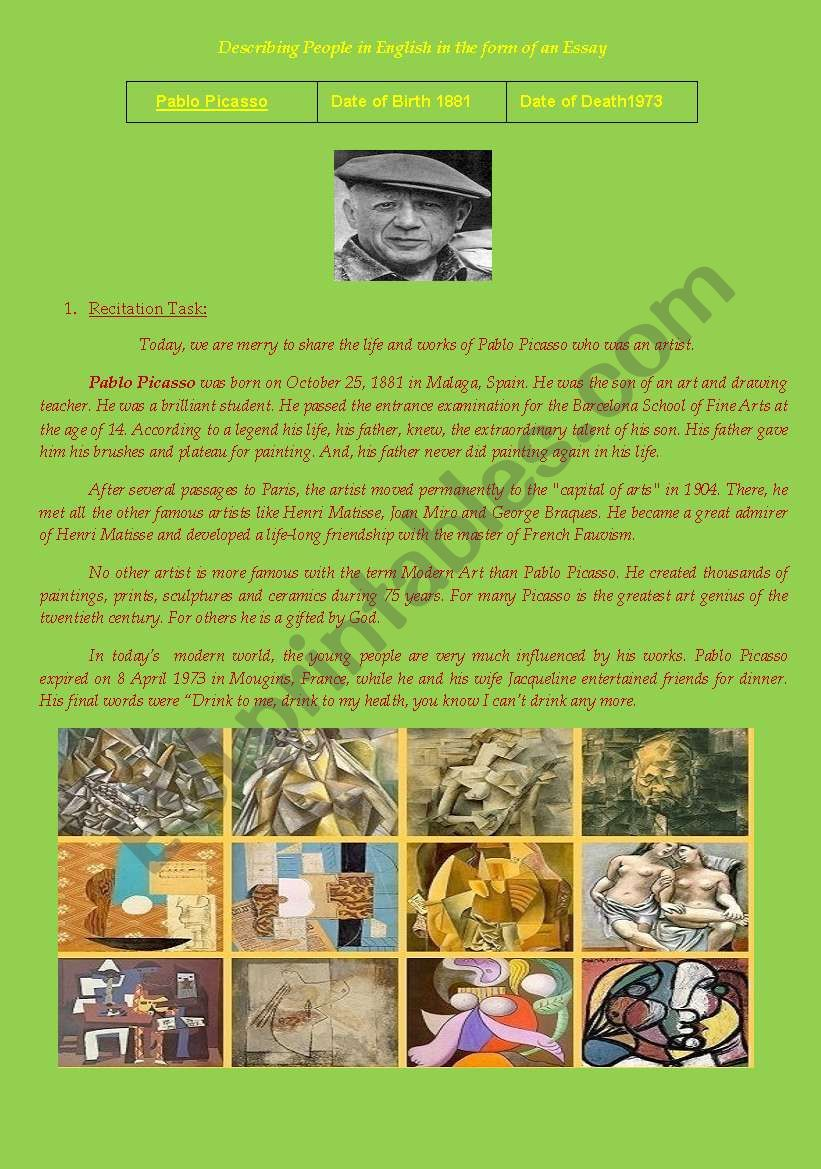 english worksheets pablo picasso   describing people in english in  pablo picasso   describing people in english in the form of an essay