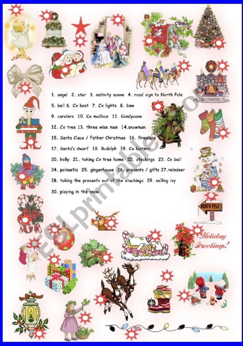 Xmas Pictionary worksheet