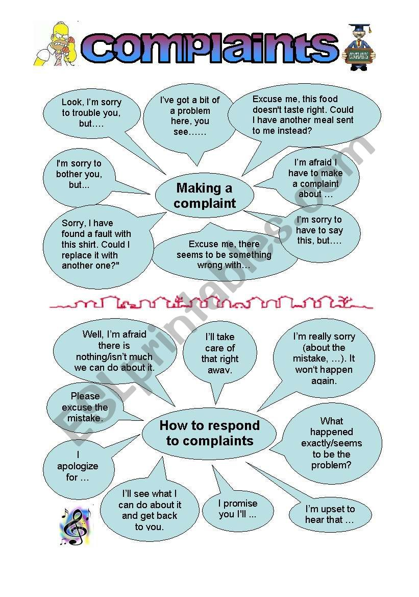 Phrases for complaining and responding to complaints