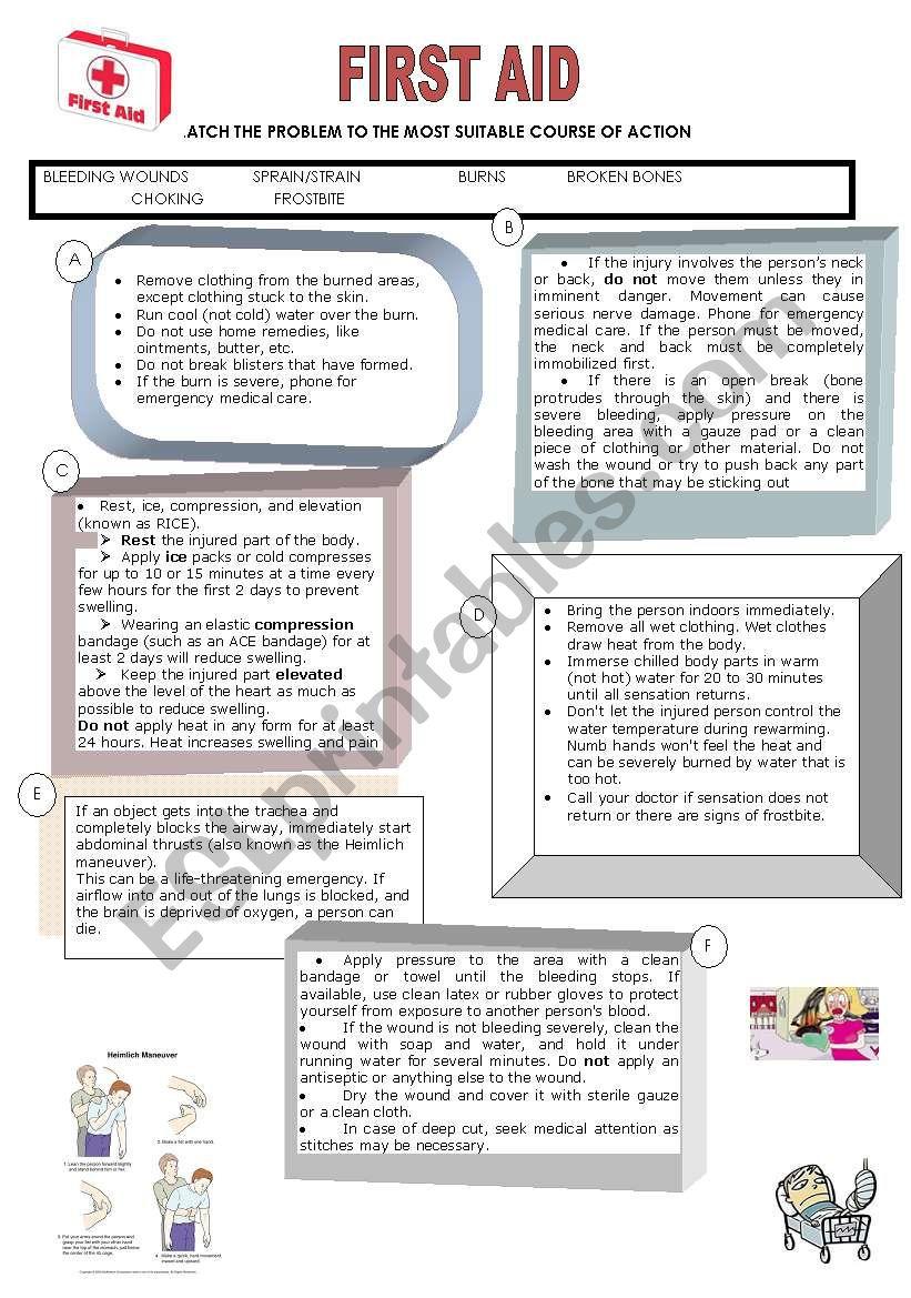 First Aid Esl Worksheet By Isabel L