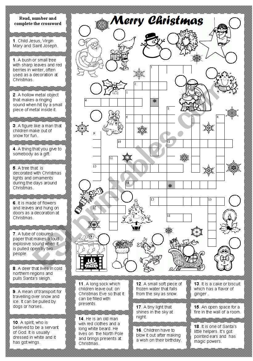 Christmas crossword worksheet