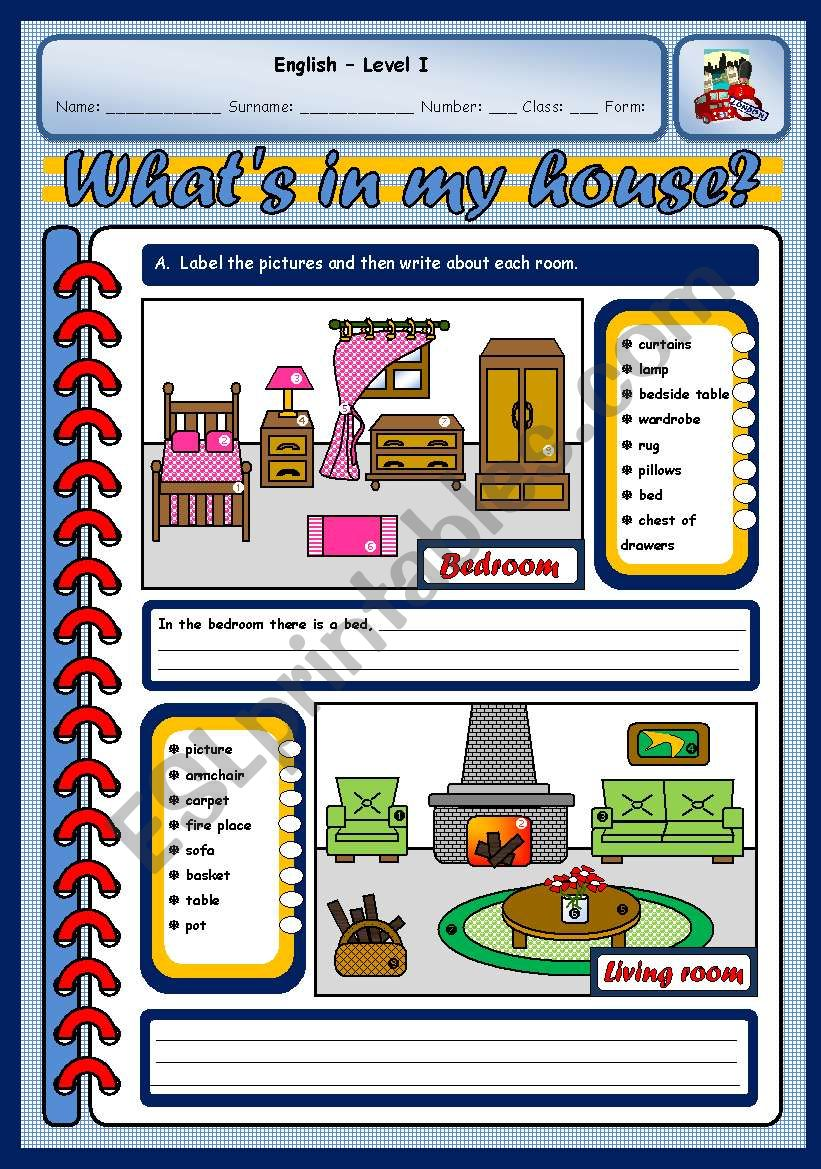 IN MY HOUSE (TWO PAGES) worksheet