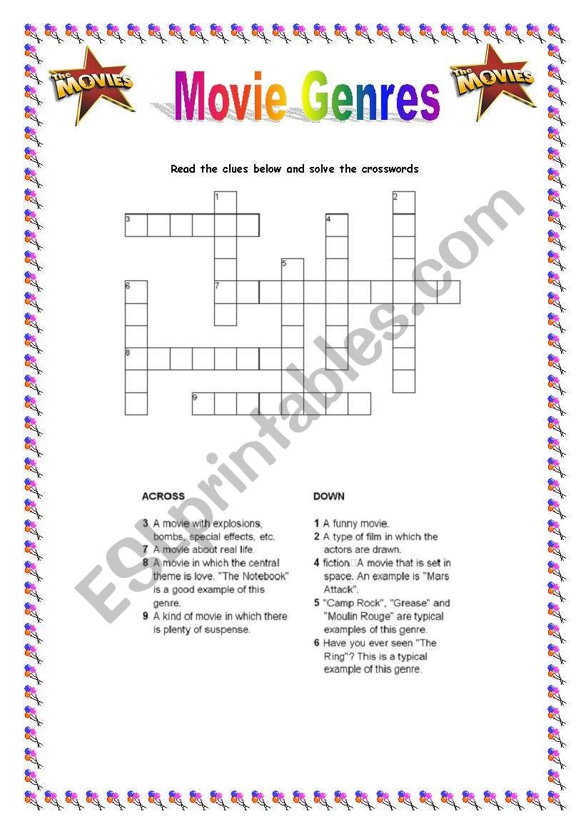 Movie Genre Crosswords Esl Worksheet By Ctrajtemberg