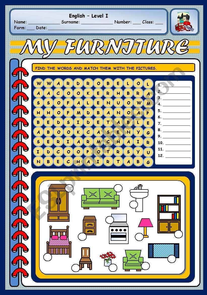 MY FURNITURE worksheet
